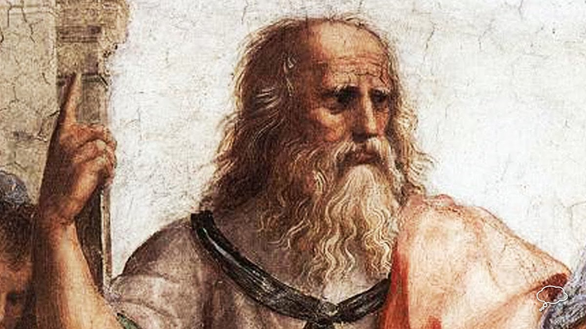 A painting of Plato pointing upwards