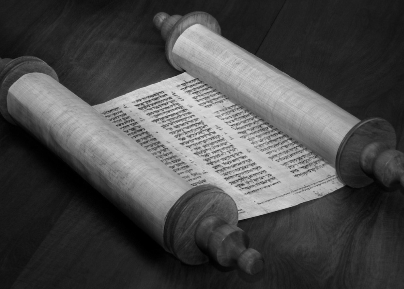 Ancient scroll black and white