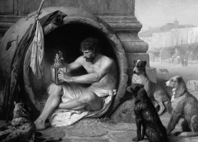 Diogenes of Sinope black and white