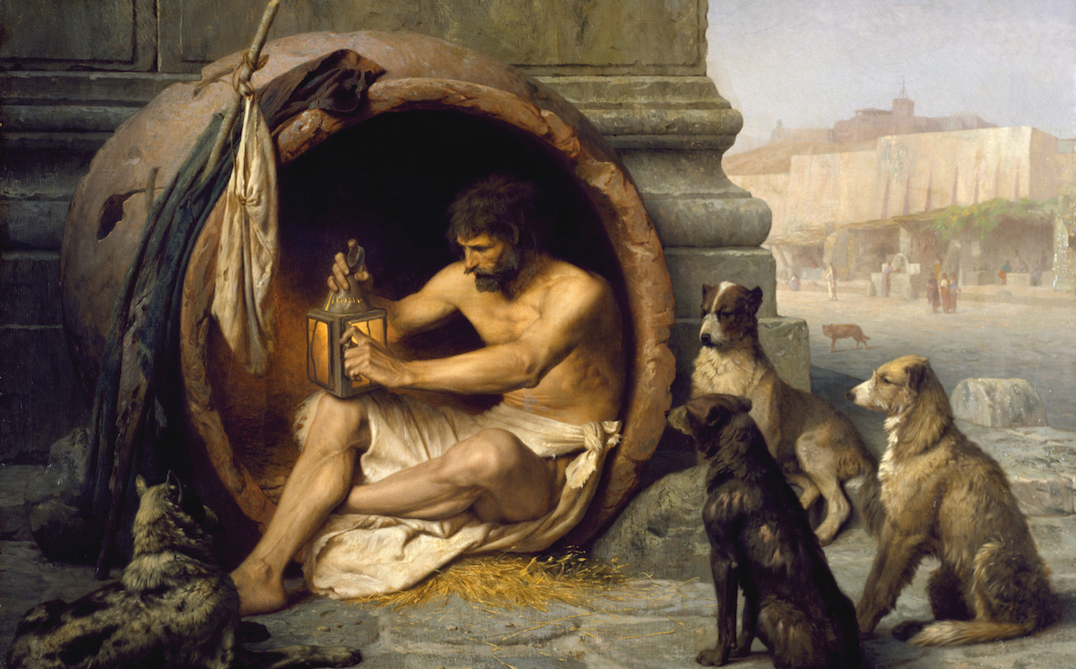 Diogenes of Sinope in a barrel surrounded by dogs