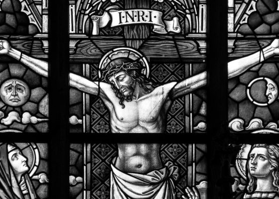 Jesus stained glass black and white