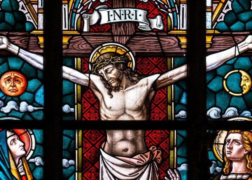 A stained glass window depicting Jesus