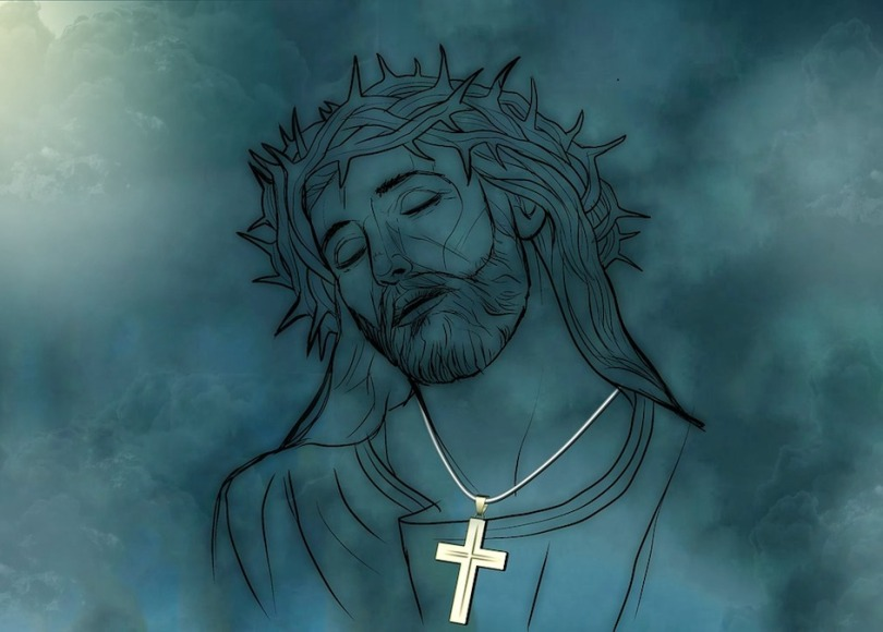 A drawing of Jesus with a gold cross around His neck