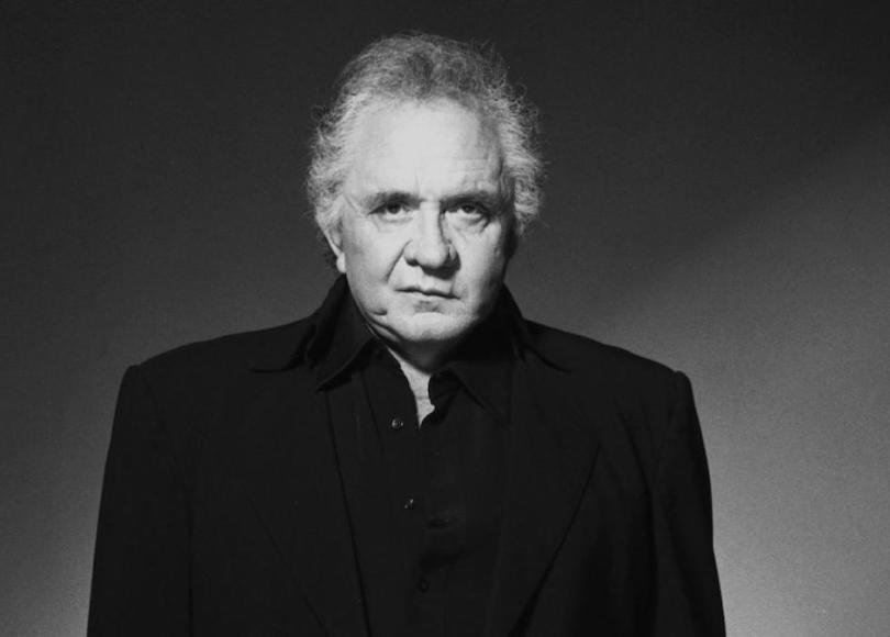 Johnny Cash in black and white