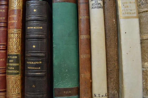 Old books in a line