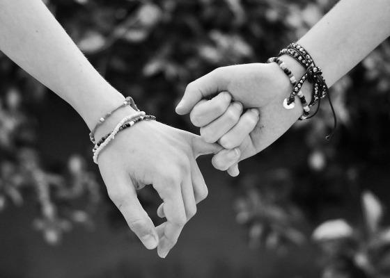 Finger bending black and white