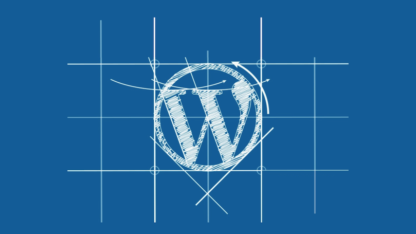 A sketched WordPress logo in a grid