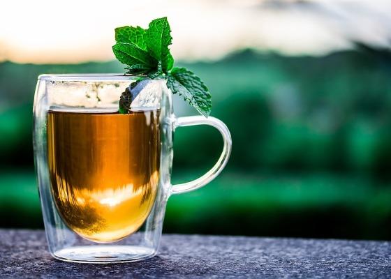 A cup of tea in a glass mug
