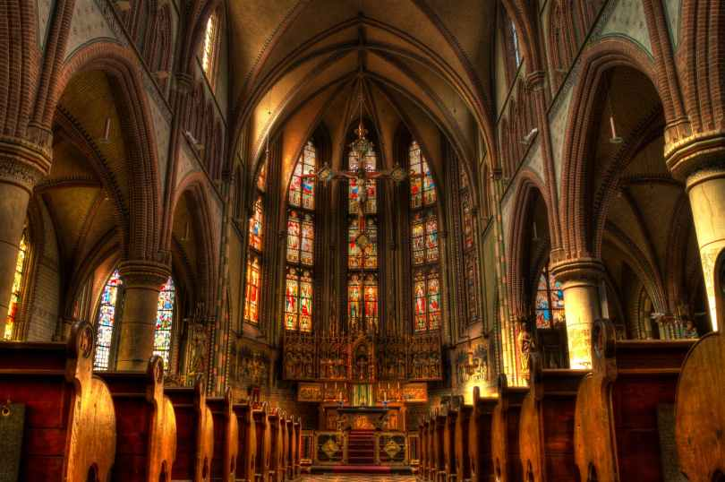 The inside of a cathedral