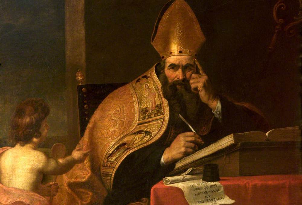 Saint Augustine sat at a desk writing