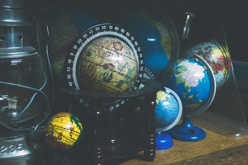 A selection of different sized globes