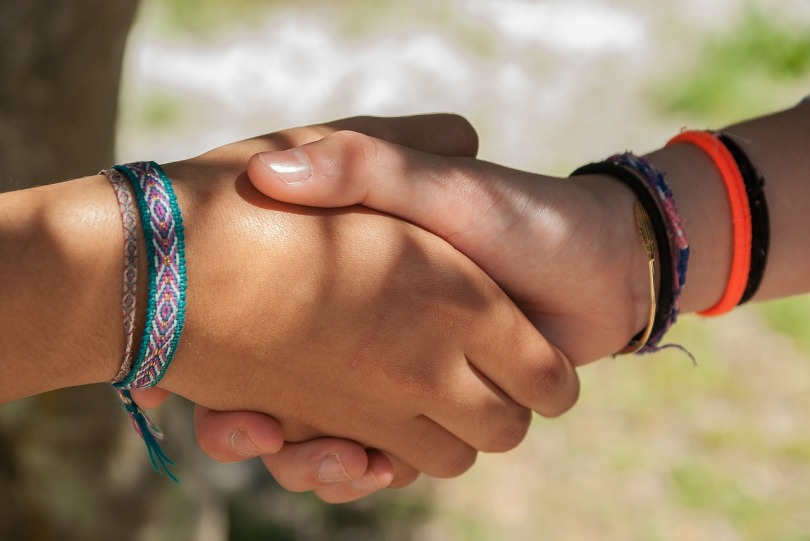 A close-up of two people shaking hands