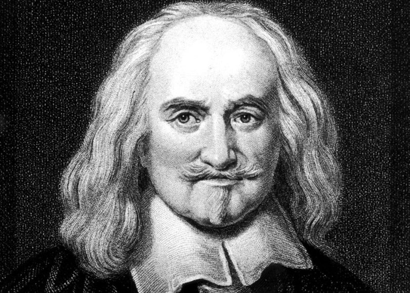 A black and white portrait of Thomas Hobbes