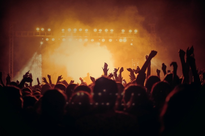 A crowd at a concert with their hands in the air