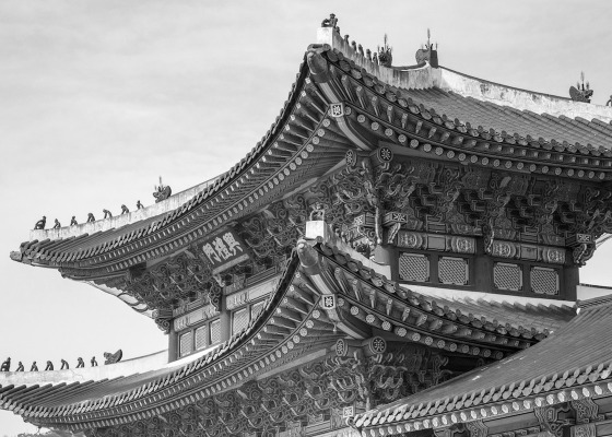 Chinese building black and white