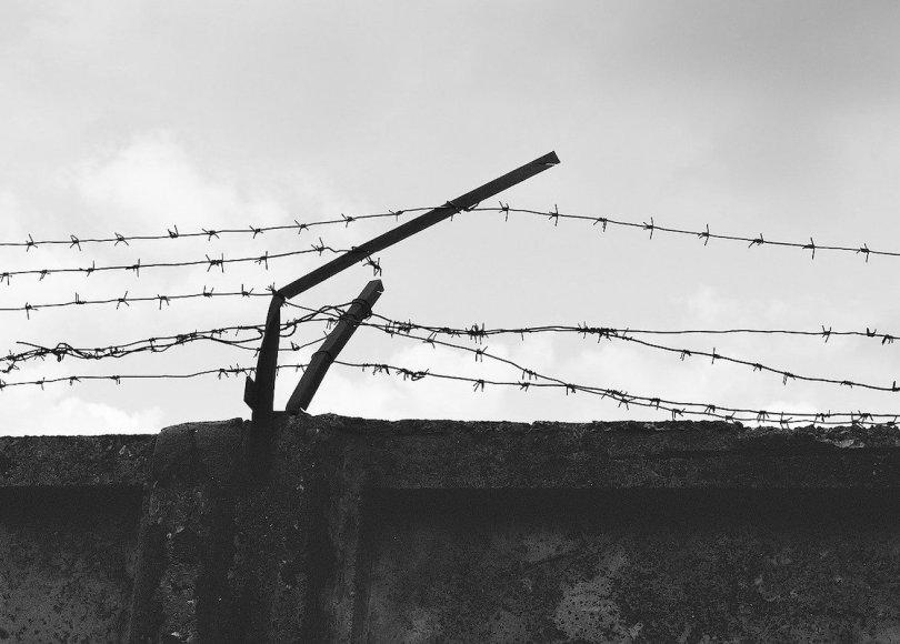 Barbwire prison black and white