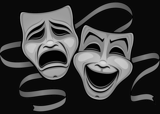 Comedy tragedy masks black and white