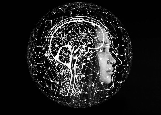 A black and white abstract picture of brain activity