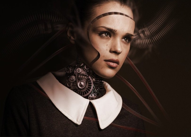 A woman connected to a machine