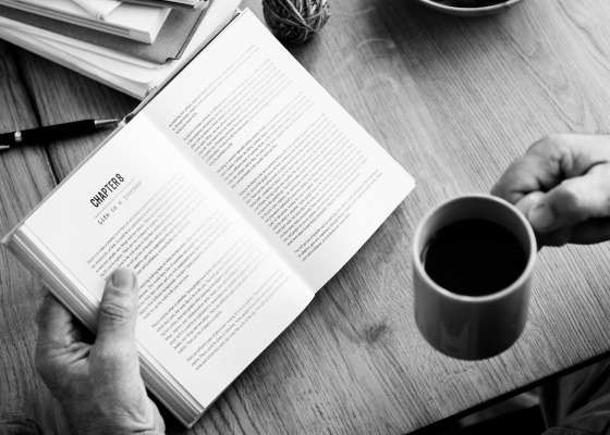 Book and coffee black and white