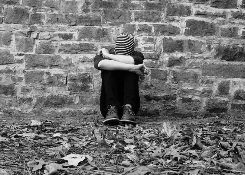 Lonely person black and white
