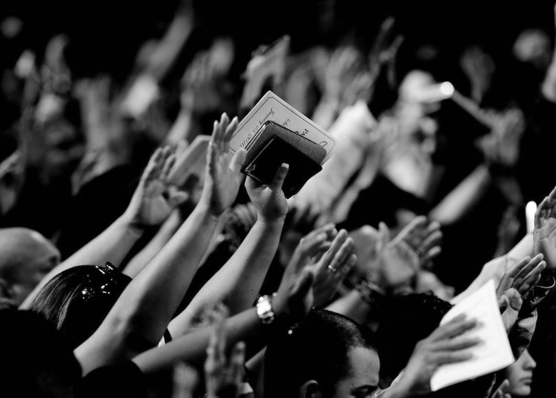 Christians in church black and white