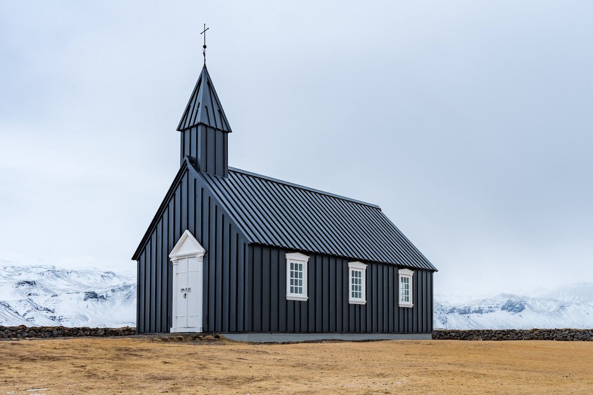 A small church in a sparse icy wilderness