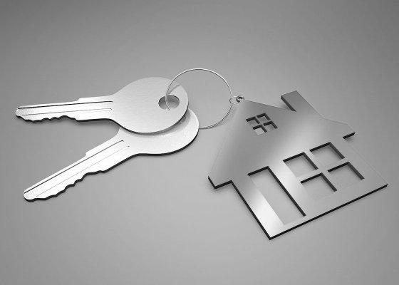 House keyring and keys black and white