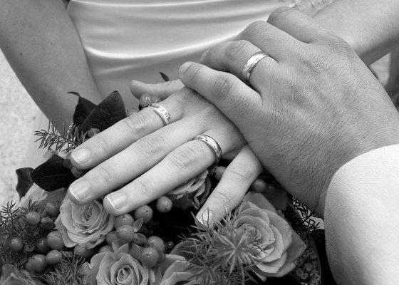 Wedding rings black and white