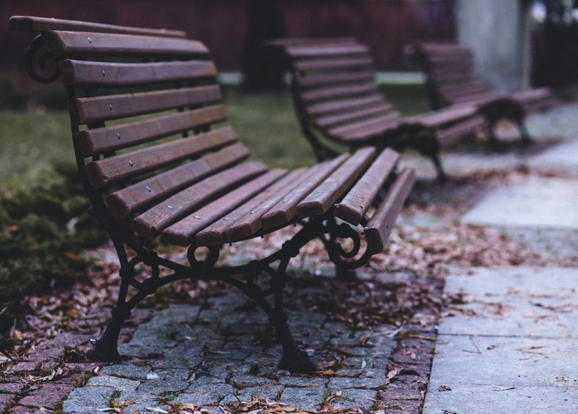 Park benches on a rainy day
