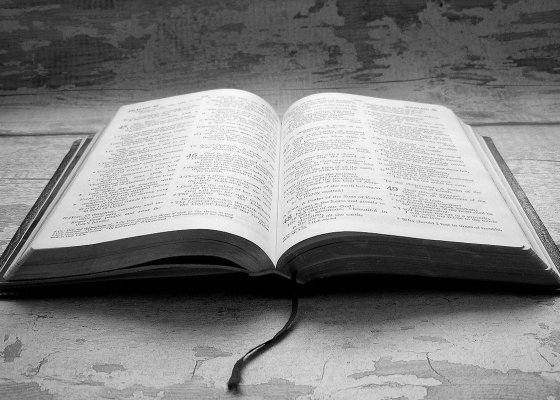 Open Bible black and white