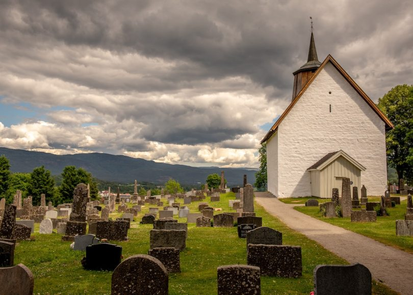 Church and Graveyard on a cloudy day