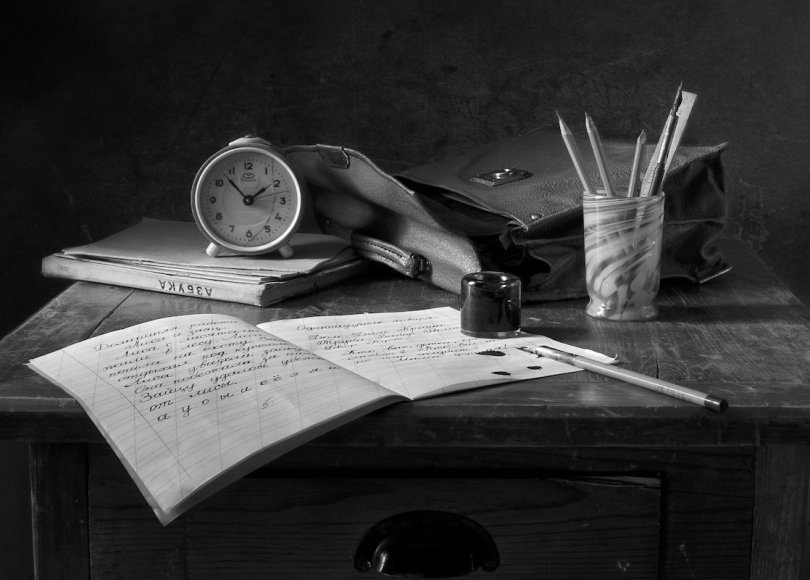 Letter writing black and white