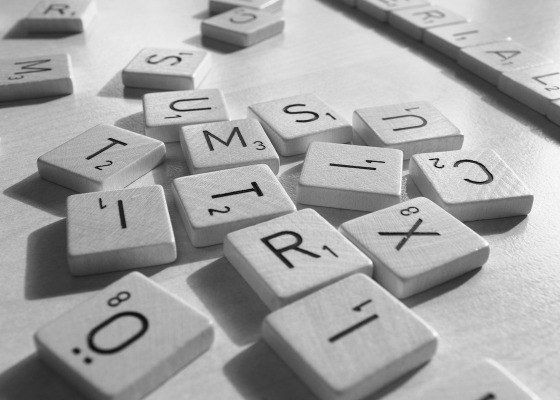 Scrabble letters black and white
