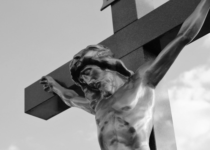 Jesus on the cross statue black and white