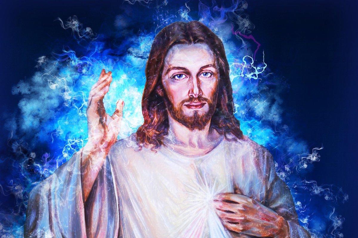Jesus pointing upwards