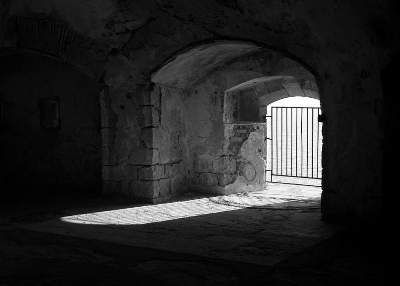 Prison cell black and white