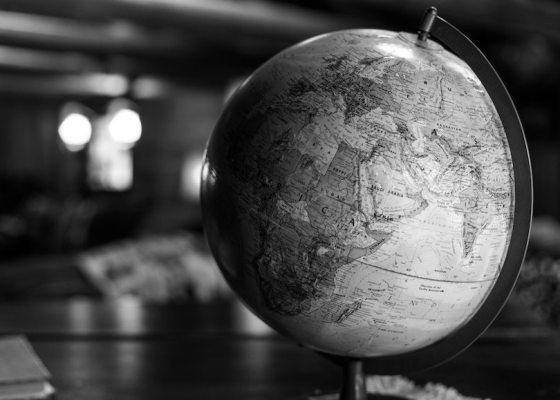 Globe black and white