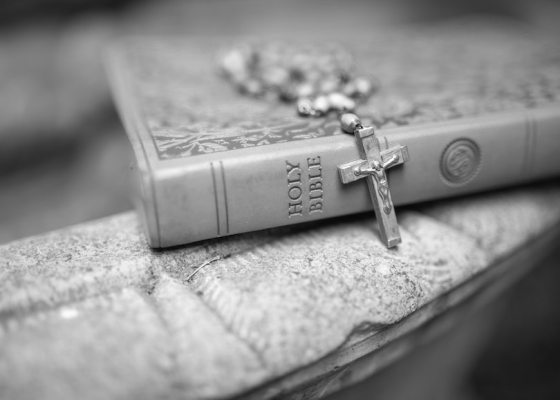 Bible and rosary black and white