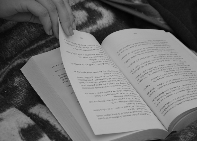 Book being read black and white