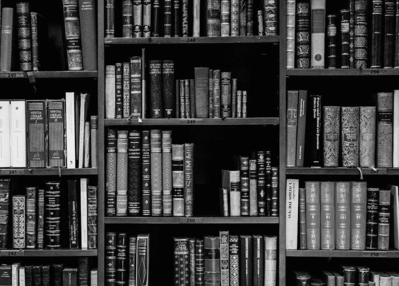 Book shelf black and white