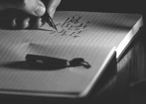 Handwriting black and white