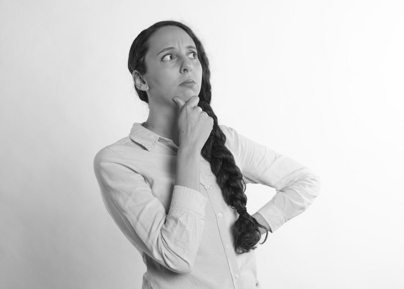 Woman thinking black and white